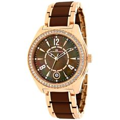 Oceanaut Women's Pearl Quartz Two-tone Rose Gold Chocolate brown Band Brown Mother of Pearl Dial