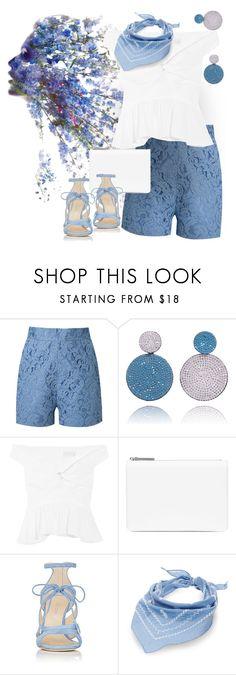 """Summer: Blue & White"" by petalp ❤ liked on Polyvore featuring Martha Medeiros, Peter Pilotto, Maison Margiela, Chloe Gosselin, Steve Madden, shorts and ootd"