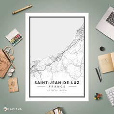 A map poster from Mapiful.com. A creative DIY tool to make your own map poster. This is 'Saint-Jean-de-Luz'