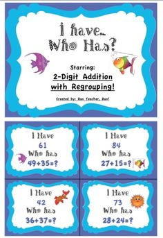 2 Digit Addition With Regrouping  I have...Who Has? Game
