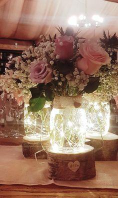 Table Arrangements For Wedding Receptions – Bridezilla Flowers Wedding Centerpieces Mason Jars, Lighted Centerpieces, Centrepieces, Homemade Wedding Decorations, Wedding Table Decorations, Fall Wedding, Rustic Wedding, Our Wedding, Wedding Ideas