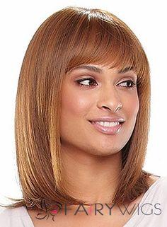 Pretty Medium Straight Blonde African American Wigs for Women