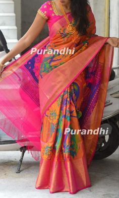 Pure Uppada Silk Saree with Pattu and Zari Border, Traditional Pattu Sari with Blouse, Soft Uppada Silk Sari, Handwoven Uppada Pattu Saree - - Uppada Pattu Sarees, Silk Saree Kanchipuram, Ikkat Silk Sarees, Pattu Saree Blouse Designs, Saree Blouse Patterns, Lehenga Designs, Kurta Designs, Fancy Sarees, Party Wear Sarees