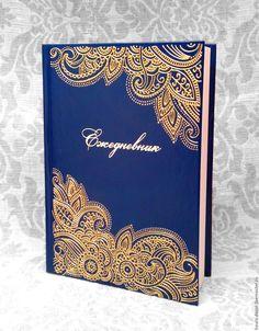 Купить Ежедневник А5 №9 - тёмно-синий, золото, ежедневник, роспись, подарок, креатив, Ежедневник