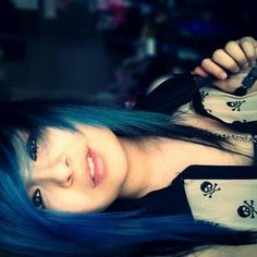 Blue and black scene hair