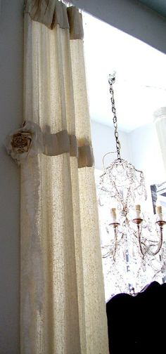 Nice detail on curtains Sequin Curtains, Lined Curtains, Custom Curtains, Window Panels, Window Coverings, Window Treatments, Curtain Styles, Curtain Designs, Swags And Tails