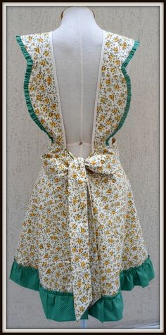 40s50s Authentic Apron Pinafore style. Striped Mid Century Apron Beautiful light denim weight