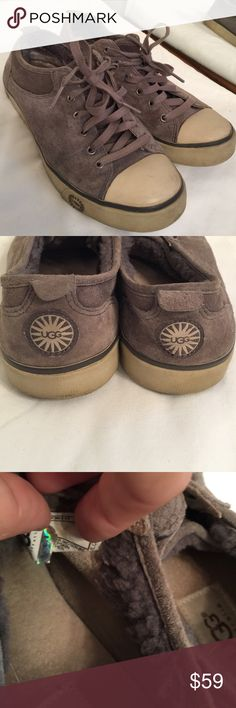 EUC UGG Grey Tennis Shoes Size 8 EUC just some slight scuff marks they are grey with a cream color they are not grey and white. Nothing wrong with them whatsoever I just need a pair of Nikes instead so I will possibly trade if you have a pair of EUC Nikes any questions please ask TV $89 Worn 6-8 times UGG Shoes