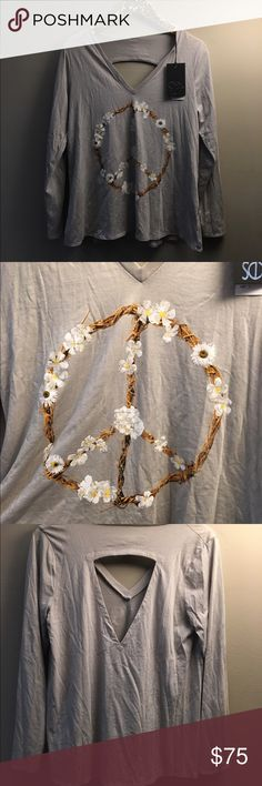 Chaser long sleeved top Lightweight long sleeve top with branches and flower peace sign. Back has an open cut out. Chaser Tops Tees - Long Sleeve