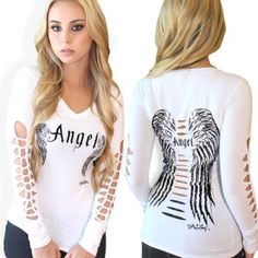 """Angel slashed sleeve top95% Cotton 5% Spandex ~ stretchy for a perfect fit! Sizing:Small:   33-34"""" bust 26-28"""" waist Medium:  35-36"""" bust 29-30"""" waist Large:   37-38"""" bust 31-32"""" waist X-Large: 39-40"""" bust 33-34"""" waist"""