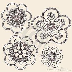 Henna Mehndi Paisley Flower Doodle Design