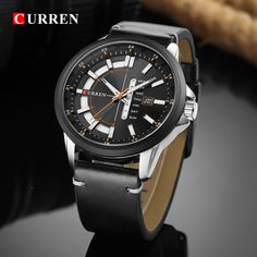 CURREN Casual Style Men Watch Calendar Unique Design Men Wrist Watch Genuine Leather Quartz Watch is hot-sale, stainless steel watch, sport watches for men, and more other cheap mens watches are provided on NewChic. Cheap Watches For Men, Black Quartz, Jewelry Supplies, Quartz Watch, Leather Men, Bracelet Watch, Men Watch, Mens Fashion, Calendar