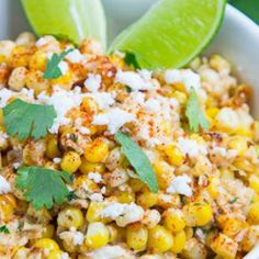 Creamy Mexican Charred Corn, Jalapeno, Green Onion, and Cilantro Salad with Lime, Cotija, and Chili [Esquites] (charring took almost twice as long, might try grilling)