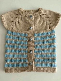 Diy Crafts - Color,easy-Very Easy Two Color Vest Knitting Pattern Baby Cardigan, Baby Pullover, Baby Knitting Patterns, Knitting Designs, Toddler Boy Outfits, Kids Outfits, Little Girl Fashionista, Knit Vest Pattern, Fashion Jobs
