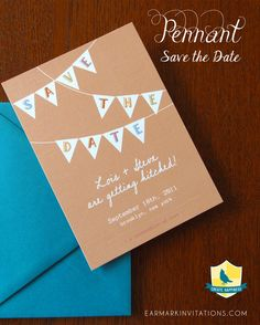 Pennant Save the date. Invitations and Guest Book also available. Customize the set with your colors! via Earmark Social #wedding #savethedate #pennant