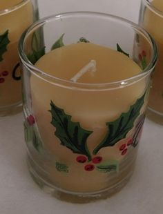 1- Holly Leaf Votive Holder with (1) Handmade 100% Natural Beeswax Candle  #Unbranded #Holiday