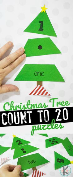 Free Christmas Tree Count to 20 Puzzles - this are such a fun Kindergarten Christmas Math activities, game, centers for kids to practice numbers 10-20, counting to 20, count to 20 number words and more as morning work.