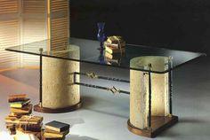 mesa vidrio media luna madera - Buscar con Google