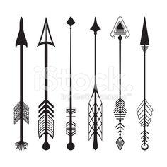 Conjunto de flechas dibujados a mano gráfico vector de stock libre de derechos