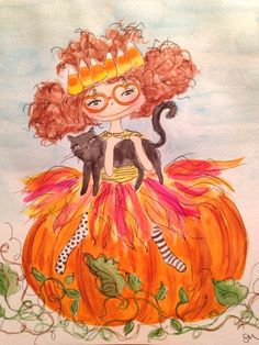 October 18.  Little Miss Lumpkin sat on her pumpkin, holding her cat named Francis. Watercolor and pen on paper.