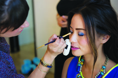 mark Celeb MUA @Jamie Wise Greenberg applying a bold #blue eye onto #mark Magalog star #JamieChung! http://sgruman.avonrepresentative.com/