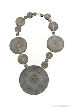 """""""YK4 - cosmogonie"""" necklace 2011 18k gold, sterling silver - time passing, planets moving, space, traces"""