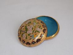 Vintage Enamel and Brass Cloisonne Round by 1littletreasureshop