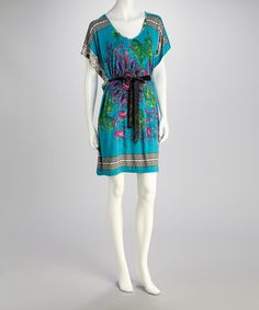 Turquoise Belted Cape-Sleeve Dress