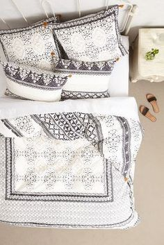 Anthropologie Enmore Embroidered Duvet #anthrofave. Appeals to my black and white phase.