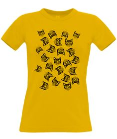 Black Mollycat Muddle yellow T-shirt - A range of apparel and tote-bags designed by Mollycat of Finland. Yellow T Shirt, Clothing Apparel, Art Market, Black Print, Finland, Tote Bags, Range, Gift Ideas, Hoodies