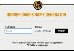 (got this from Rae!) Click on the picture and type your name into The Hunger Games name generator. Mine is Laurel Wellwood. What's yours?