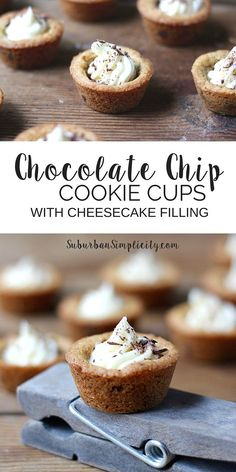 These Chocolate Chip Cookie Cups with Cheesecake Filling are a delicious dessert! A crisp outer edge and soft chewy middle filled with cheesecake makes this recipe irresistible!