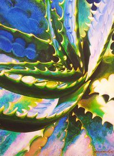 Robert C. Murray II WATERCOLOR Watercolor Succulents, Cacti And Succulents, Watercolor Flowers, Cactus Plants, Watercolor Sketch, Large Canvas, Whimsical Art, Flower Art, Painting & Drawing