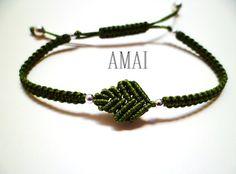 Leaf Sterling Silver 925 Tiny Bead Macrame Knot Cord Friendship Bracelet
