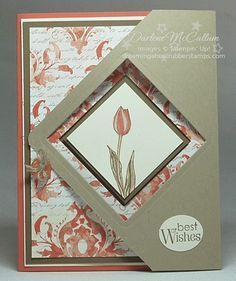 Backyard Basics Fancy Fold Card with Eastern Elegance Paper Sample #1 Closed.  (Pin#1: Folds/ Closures.  Pin+: Easter: Flowers).