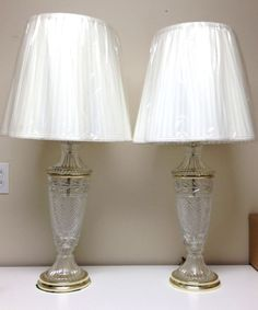 Vintage Pair Beautiful Lead Crystal Glass Table Lamps, Waterford Style