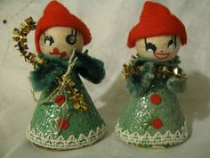 Vintage 1950 JAPAN Pair of PUTZ Like Cone CARDBOARD Christmas Decoration Ornament Elf Gnome Dwarf Pixie Spun Cotton Head Felt Chenille Mica
