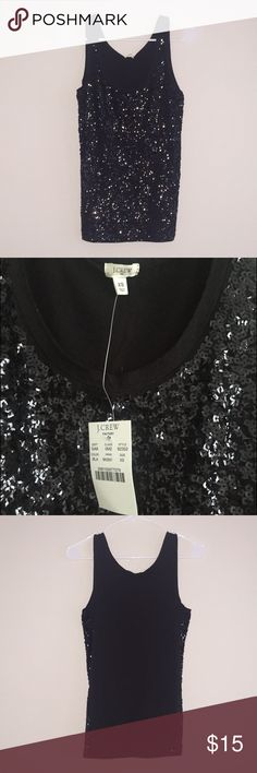 Black Sequined J.Crew Top Black sequined front, back is solid black. Size XS, runs true to size. 100% cotton. New with tags and never worn! J. Crew Tops Tank Tops