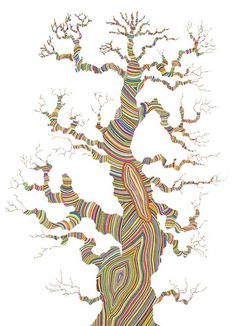 Growth, by Carrie Marill. Tree art via Illustrations, Illustration Art, Thich Nhat Hanh, Paper Drawing, Art Plastique, Tree Art, Tree Of Life, Art World, Art Lessons
