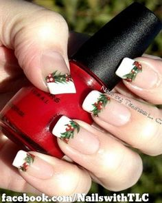 Mistletoe Christmas Nail Art.