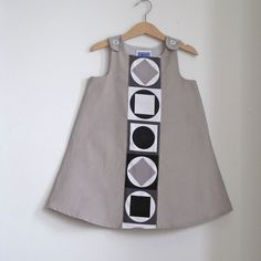 Minimalist Mod Grey Toddler Girls Dress - Size 4T - Hipster Childrens Clothing