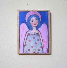 Folk Art Angel Encaustic Woodblock Print by Debidoodah on Etsy, $8.00