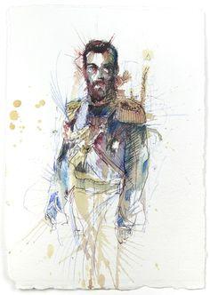Ilustrações com tinta, chá e bebidas alcoólicas de Carne Griffiths