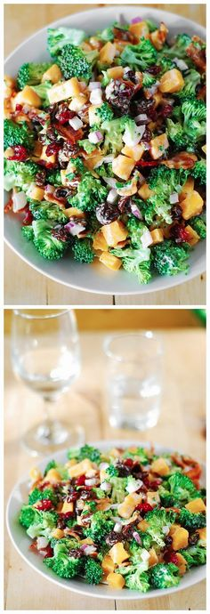 Broccoli Salad with Bacon, Raisins, and Cheddar Cheese ~ Chopped Jalapeno