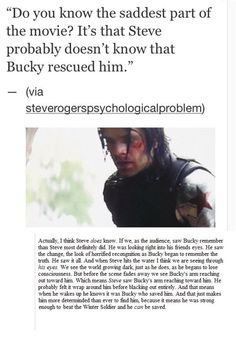 """Not to mention in Civil War Steve said to Bucky, """"You pulled me from the river, why?"""" To which Bucky replied, """"I don't know"""" and Steve said """"yes you do"""". Marvel Memes, Marvel Dc Comics, Marvel Avengers, Movies And Series, Dc Movies, Sebastian Stan, Chris Evans, Tom Holland, Newt Thomas"""