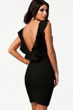 Business Etuikleid Rüschen Partykleid Abendkleid rückenfrei M L XL 36 38 40 42 in Kleidung & Accessoires, Damenmode, Kleider | eBay