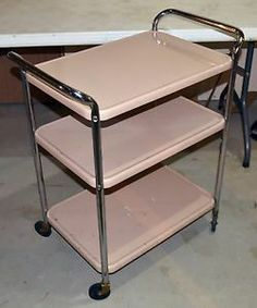 Mid Century Modern Cosco 3 Tier Rolling Cart Metal Utility Kitchen Tea  Vintage | EBay