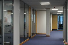 Glass #partitioning, #lightin and #carpet flooring for #TrustFord