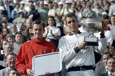 The Final of the French Open, June 8, 1986. I became a tennis fan that day. Czech tennis player Ivan Lendl (R) and US Mikael Pernfors pose with their trophy. Lendl won in three sets.