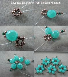 Beaded flowers. Can make these into a bracelet. #Seed #Bead #Tutorials